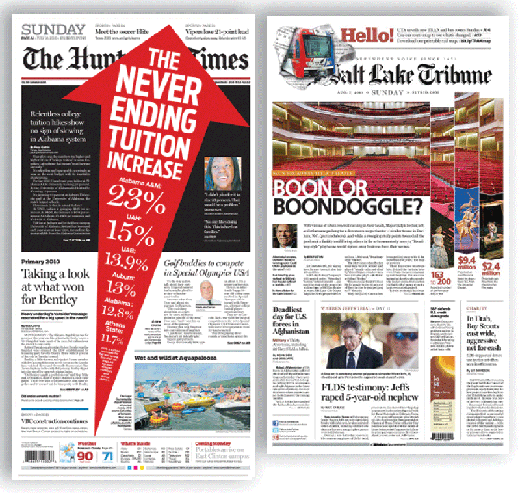 These two front pages have dynamic centerpiece packages, even without dynamic photographs. The Huntsville Times's graphic presentation certainly turns up the volume on a story about tuition increases; The Salt Lake Tribune blends a nice yet static photo of a local theater with data about the arts.