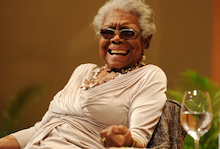 Maya Angelou speaks on race relations at Congregation B'nai Israel and Ebenezer Baptist Church on Jan. 16, 2014 in Boca Raton, Florida. (AP Photo/Jeff Daly/Invision)