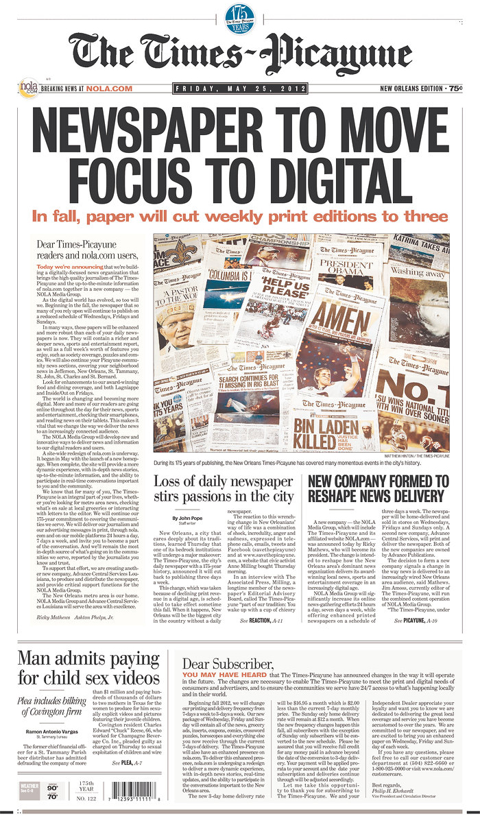 how times-picayune, alabama newspaper changes played on their front