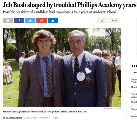 Michael Kranish, the Boston Globe's deputy Washington bureau chief, was able to get classmates of Jeb Bush to talk on the record about their recollections. (Screengrab from the BostonGlabe.com)
