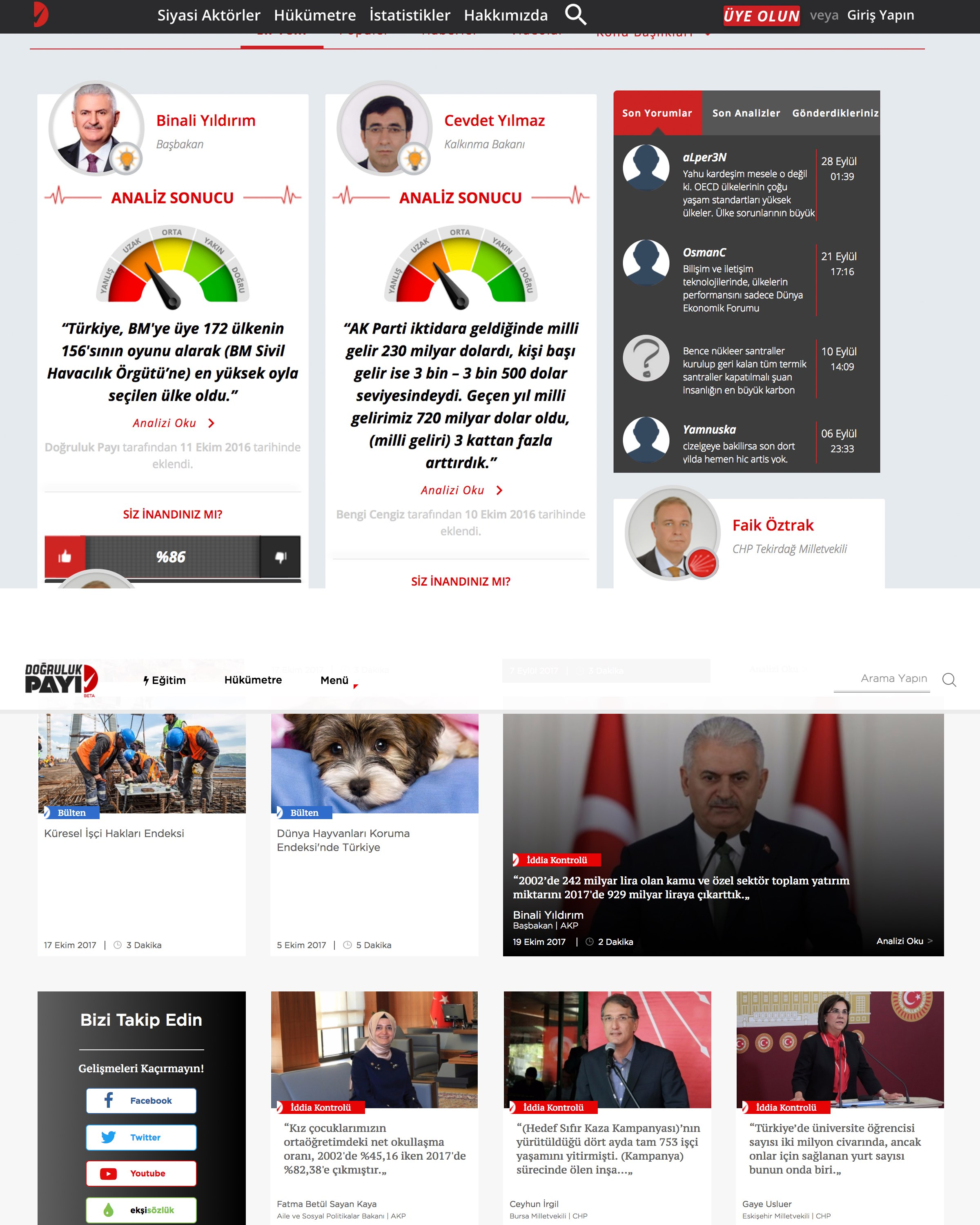 (From top): Doğruluk Payi's website before and after its recent redesign.