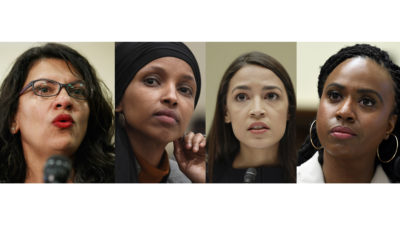 "In this combination image from left; Rep. Rashida Tlaib, D-Mich.; Rep. Ilhan Omar, D-Minn.; Rep. Alexandria Ocasio-Cortez, D-NY.; and Rep. Ayanna Pressley, D-Mass. In tweets Sunday, President Donald Trump portrays the lawmakers as foreign-born troublemakers who should ""go back"" to their home countries. In fact, the lawmakers, except one, were born in the United States. (AP Photo)"