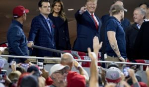 President Donald Trump attends Game 5 of the World Series on Sunday in Washington, D.C. (AP Photo/Andrew Harnik)