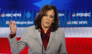 Sen. Kamala Harris during last month's Democratic presidential primary debate. (AP Photo/John Bazemore)