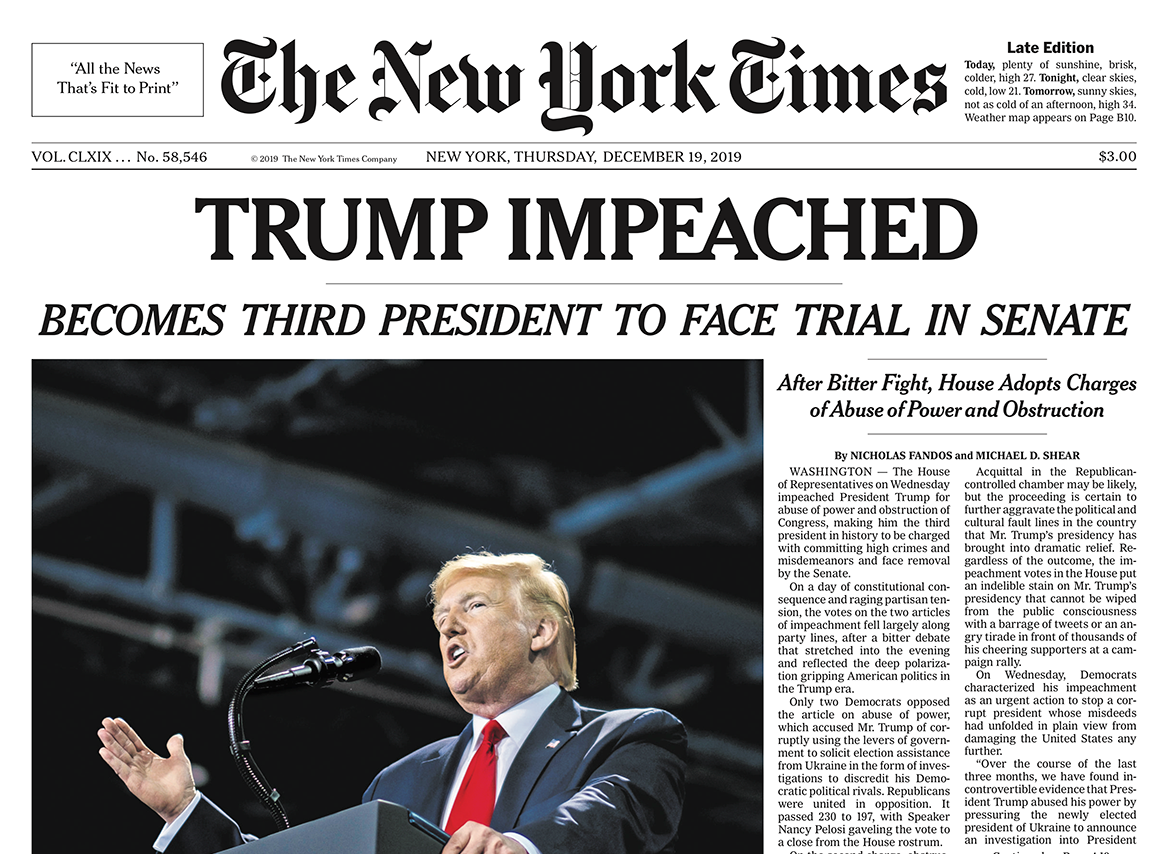 Impeached Then And Now Front Pages Showed Clinton In 1998 Trump In 2019 Poynter