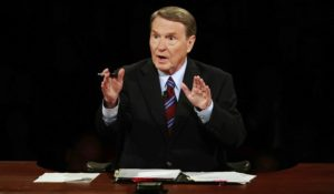 Jim Lehrer, shown here moderating a 2008 presidential debate between Barack Obama and John McCain. (AP Photo/Chip Somodevilla)