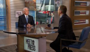 "Vice President Mike Pence, left, with Chuck Todd on Sunday's ""Meet the Press."" (Photo courtesy of NBC News)"