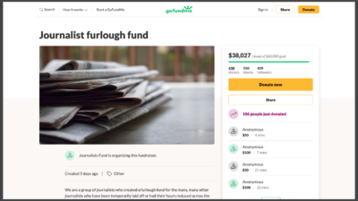"""A screenshot of the """"Journalists Furlough Fund"""" set up by Seattle Times reporter Paige Cornwell to help journalists who have been laid off or furloughed due to the coronavirus-related financial downturn."""