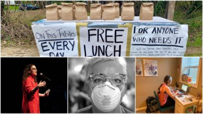 From top: Someone has been setting up a table of free bagged lunches for those in need outside the Arundel Beach Road traffic circle in Severna Park.(Selene San Felice/Capital Gazette) Bottom right: Sydney Hoover covers schools in Eudora, Kansas from her home in De Soto, Kansas. (Image courtesy Sydney Hoover) Bottom middle: Arlene Van Dyk is a critical care nurse at Holy Name Medical Center in Teaneck. (Photo: Jeff Rhode Holy Name Hospital/Special to NorthJersey.com) Bottom left: Storytellers project founder and director, Megan Finnerty. (Photo: Jeremiah Toller)