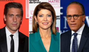 Left to right, anchors David Muir (ABC), Norah O'Donnell (CBS) and Lester Holt (NBC). (Photo composite: Charles Sykes/Invision/AP, Andy Kropa/Invision/AP, Richard Drew/AP)