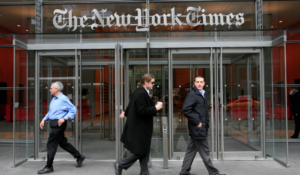 The front of The New York Times' offices. (AP Photo/Charles Krupa)