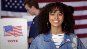 Young adult voter at the voting booth