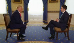 President Donald Trump, left, being interviewed by Axios' Jonathan Swan. (Courtesy: HBO)
