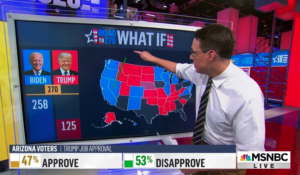 MSNBC's Steve Kornacki and his big board, trying to figure out the 2020 presidential election. (Courtesy: MSNBC)