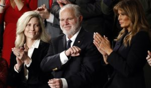 Rush Limbaugh reacts as First Lady Melania Trump and his wife Kathryn applaud as President Donald Trump delivers his State of the Union address last February. (AP Photo/Patrick Semansky)
