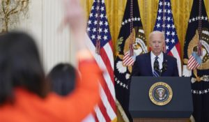 President Joe Biden on Thursday in his first presidential press conference. (AP Photo/Evan Vucci)