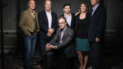"""In this Wednesday, Nov. 4, 2015 photo, actor Michael Keaton, from left, Boston Globe's former deputy managing editor Ben Bradlee Jr., reporter Michael Rezendes, columnist and reporter Sacha Pfeiffer, editor Walter Robinson, and writer/director Thomas McCarthy pose for a portrait during press day for """"Spotlight"""" at The Four Seasons, in Los Angeles. (Photo by Casey Curry/Invision/AP)"""
