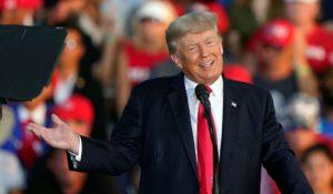 Donald Trump speaking last weekend in Ohio. (AP Photo/Tony Dejak)