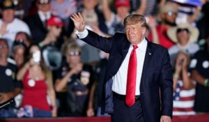 Former President Donald Trump waves to supporters after speaking at a rally in Ohio on Saturday. (AP Photo/Tony Dejak)
