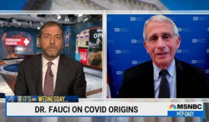"""Dr. Anthony Fauci, right, speaks with Chuck Todd on Wednesday's """"MTP Daily."""" (Courtesy: NBC News.)"""